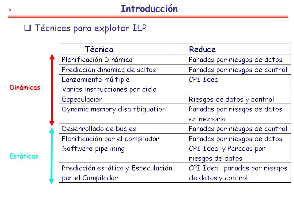 106 Especulación: Ejemplo SumadorFP MultiplicadorFP De Memoria Estaciones De Reserva Common Data Bus (CDB) Cola de Ope FP Load Buffers Buffer de Reordenamiento A Memoria Reg Dato Registros Dest Valor Tipo Listo Se lanza: ST 0(R3), F4 (sup R3=10) LD F0,10(R2) N F0 1 2 3 4 5 6 7 Nº de ROB 1 10+R2 Dest ADDD F10,F4,F0 N F10 2 ADDD R(F4), ROB1 DIVD F2,F10,F6 N F2 3 DIVD ROB2,R(F6) BNE F2,--- N --- LD F4,0(R3) N F4 ADDD F0,F4,F6 N F0 5 0+R3 6 ADDD ROB5, R(F6) ST 0(R3),F4 N 10 ROB5 0 2 4 6 8 10 Dest 6 2 5 3