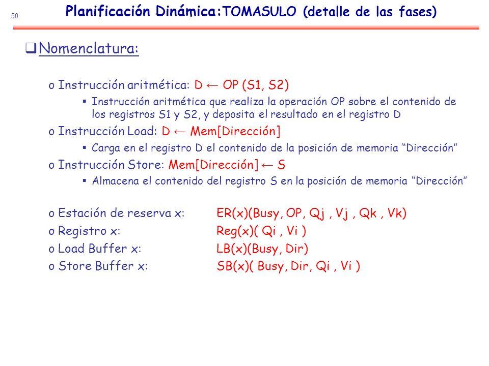 50 Planificación Dinámica: TOMASULO (detalle de las fases) Nomenclatura: oInstrucción aritmética: D OP (S1, S2) Instrucción aritmética que realiza la