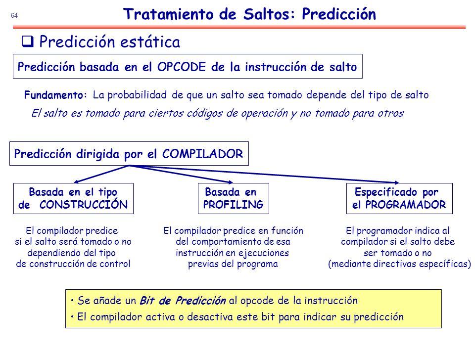 64 Se añade un Bit de Predicción al opcode de la instrucción El compilador activa o desactiva este bit para indicar su predicción Predicción dirigida
