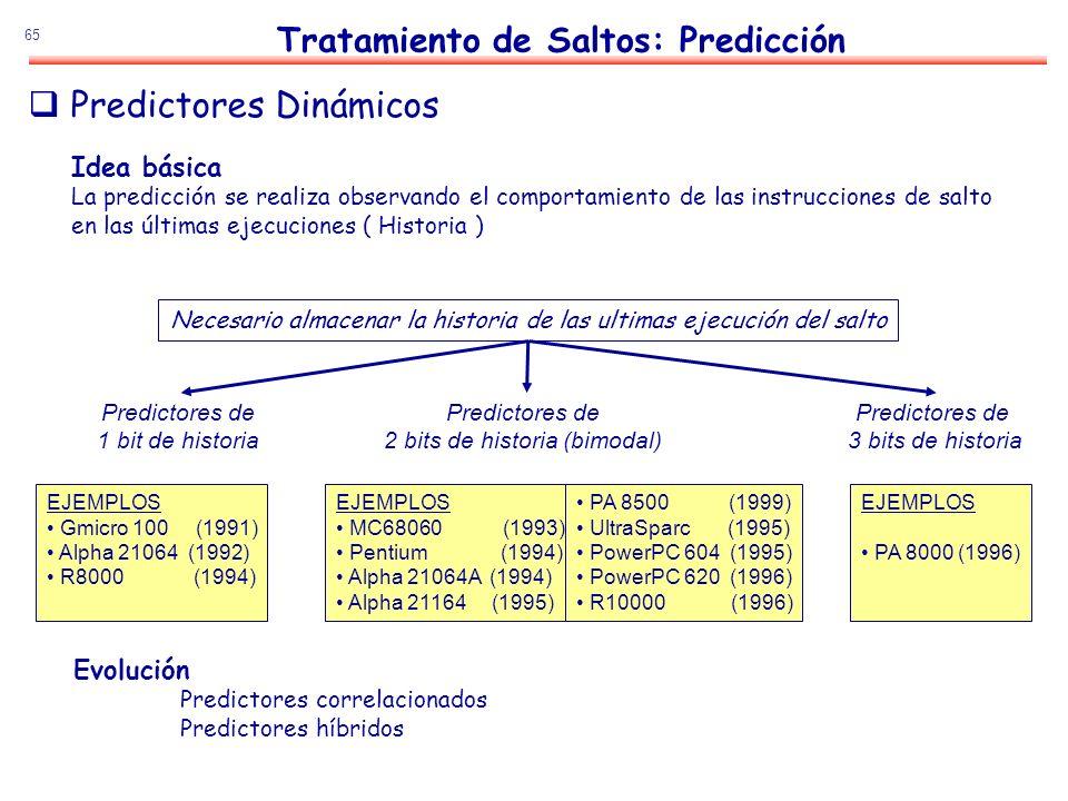 65 Idea básica La predicción se realiza observando el comportamiento de las instrucciones de salto en las últimas ejecuciones ( Historia ) Necesario a