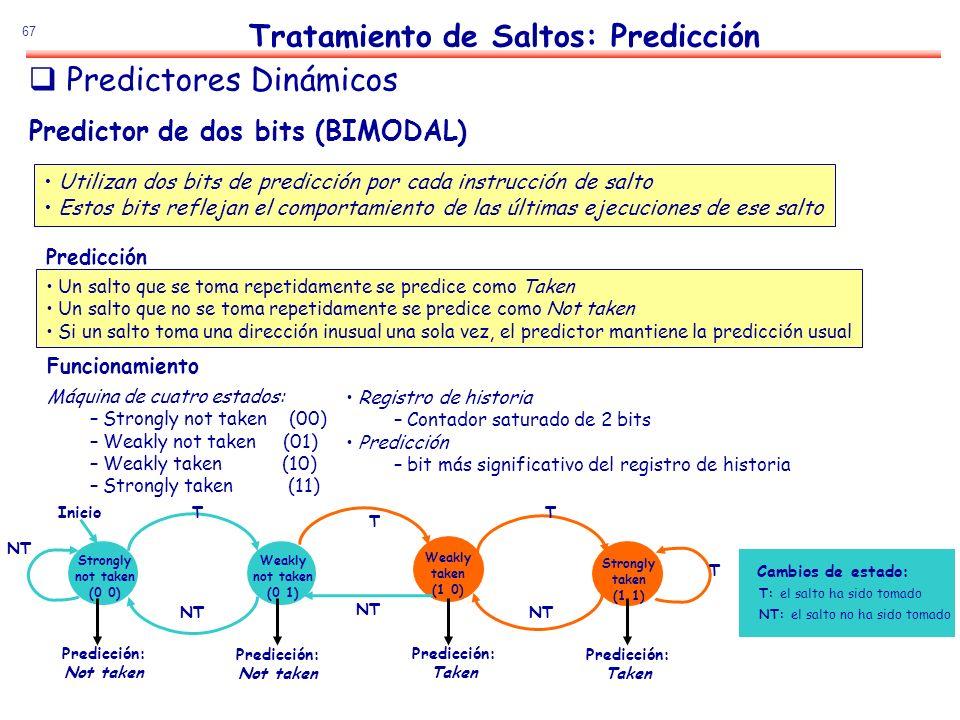 67 Predictor de dos bits (BIMODAL) Utilizan dos bits de predicción por cada instrucción de salto Estos bits reflejan el comportamiento de las últimas