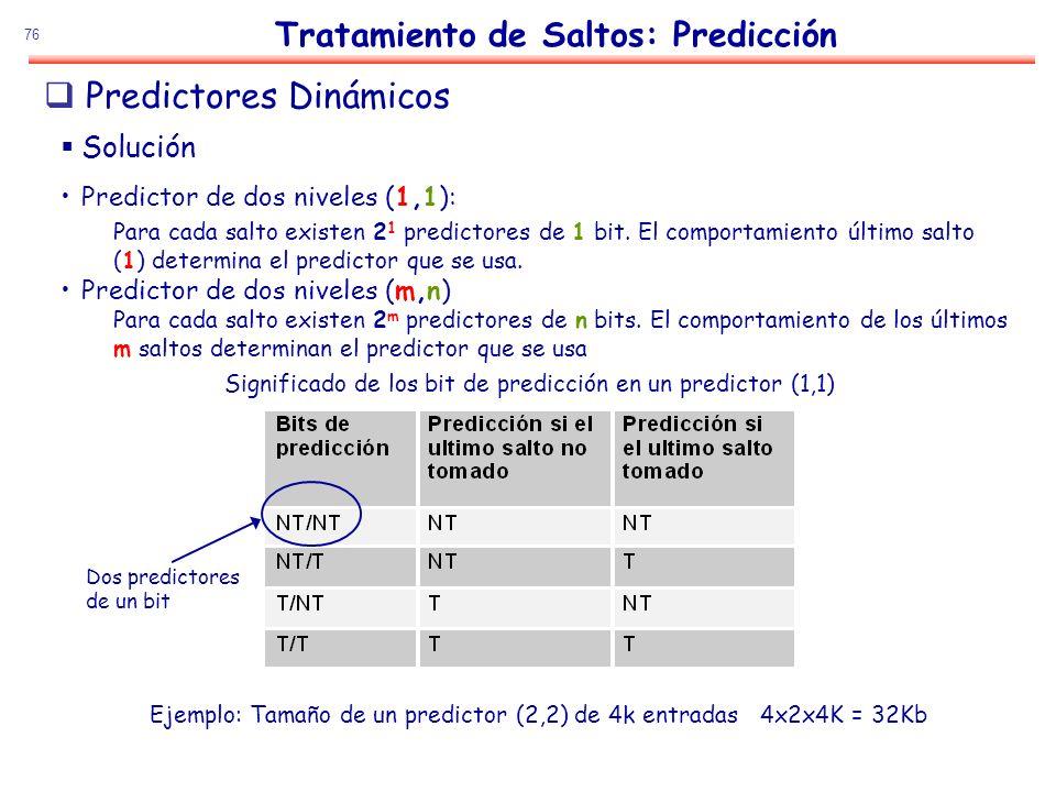 76 Tratamiento de Saltos: Predicción Solución Predictor de dos niveles (1,1): Para cada salto existen 2 1 predictores de 1 bit. El comportamiento últi