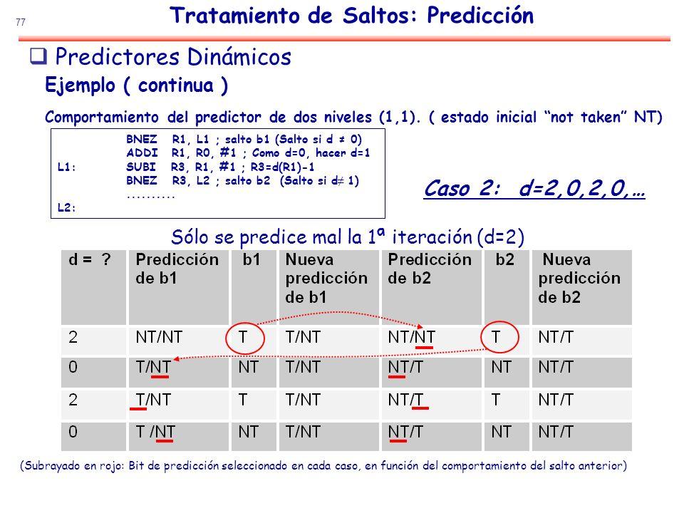 77 Tratamiento de Saltos: Predicción Sólo se predice mal la 1ª iteración (d=2) Caso 2: d=2,0,2,0,… (Subrayado en rojo: Bit de predicción seleccionado