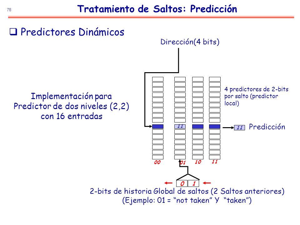 78 Tratamiento de Saltos: Predicción Predictores Dinámicos Implementación para Predictor de dos niveles (2,2) con 16 entradas Dirección(4 bits) 4 pred