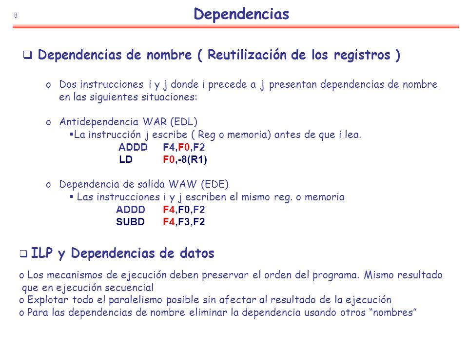 8 Dependencias Dependencias de nombre ( Reutilización de los registros ) oDos instrucciones i y j donde i precede a j presentan dependencias de nombre