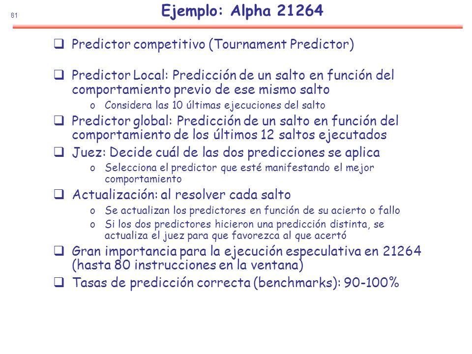 81 Ejemplo: Alpha 21264 Predictor competitivo (Tournament Predictor) Predictor Local: Predicción de un salto en función del comportamiento previo de e
