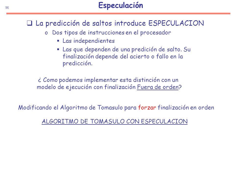 96 Especulación La predicción de saltos introduce ESPECULACION oDos tipos de instrucciones en el procesador Las independientes Las que dependen de una