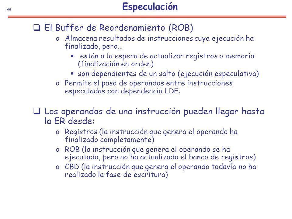 99 Especulación El Buffer de Reordenamiento (ROB) oAlmacena resultados de instrucciones cuya ejecución ha finalizado, pero… están a la espera de actua