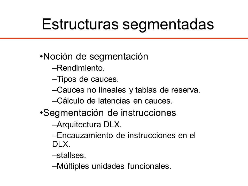 Estructuras segmentadas Noción de segmentación –Rendimiento. –Tipos de cauces. –Cauces no lineales y tablas de reserva. –Cálculo de latencias en cauce