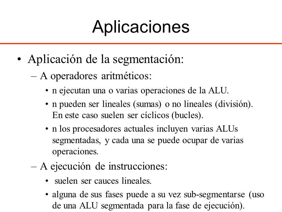 Aplicaciones Aplicación de la segmentación: –A operadores aritméticos: n ejecutan una o varias operaciones de la ALU. n pueden ser lineales (sumas) o