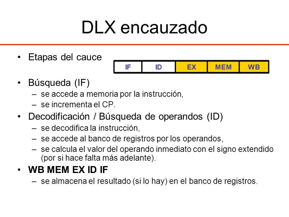 DLX encauzado Etapas del cauce Búsqueda (IF) –se accede a memoria por la instrucción, –se incrementa el CP. Decodificación / Búsqueda de operandos (ID