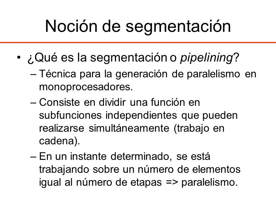 Noción de segmentación ¿Qué es la segmentación o pipelining? –Técnica para la generación de paralelismo en monoprocesadores. –Consiste en dividir una