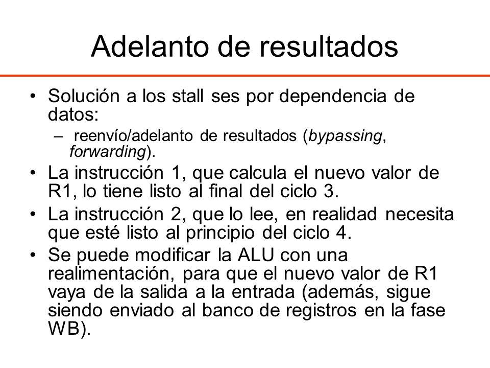Adelanto de resultados Solución a los stall ses por dependencia de datos: – reenvío/adelanto de resultados (bypassing, forwarding). La instrucción 1,