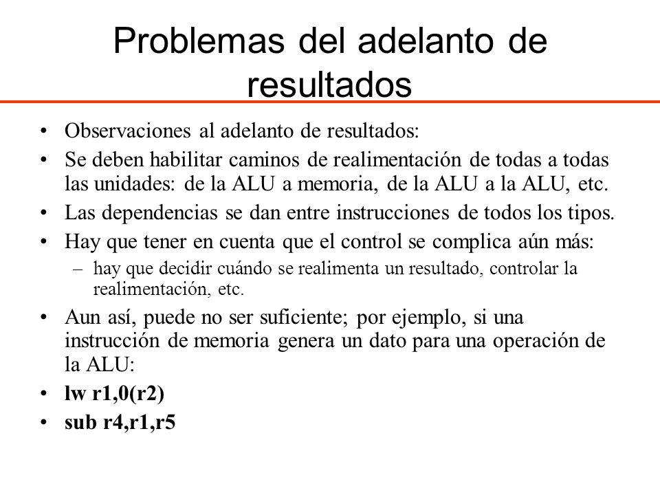 Problemas del adelanto de resultados Observaciones al adelanto de resultados: Se deben habilitar caminos de realimentación de todas a todas las unidad