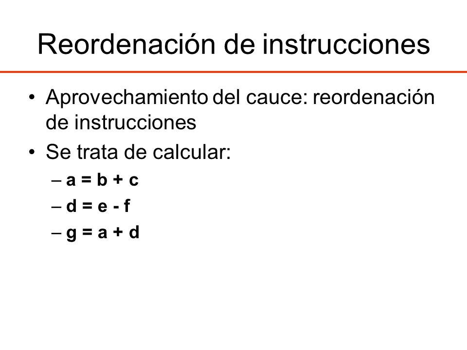 Reordenación de instrucciones Aprovechamiento del cauce: reordenación de instrucciones Se trata de calcular: –a = b + c –d = e - f –g = a + d