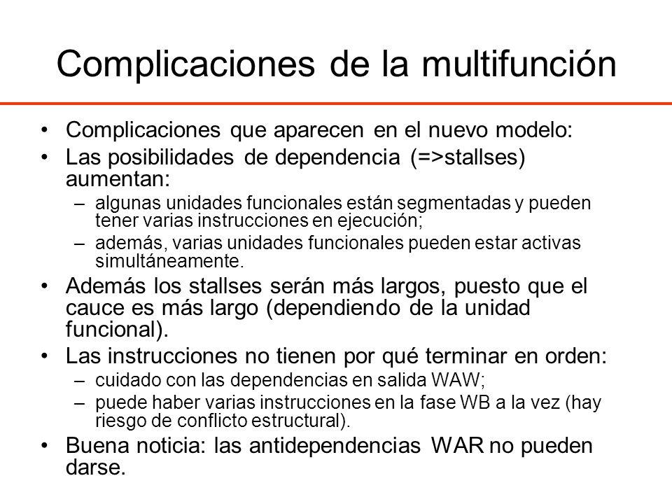 Complicaciones de la multifunción Complicaciones que aparecen en el nuevo modelo: Las posibilidades de dependencia (=>stallses) aumentan: –algunas uni