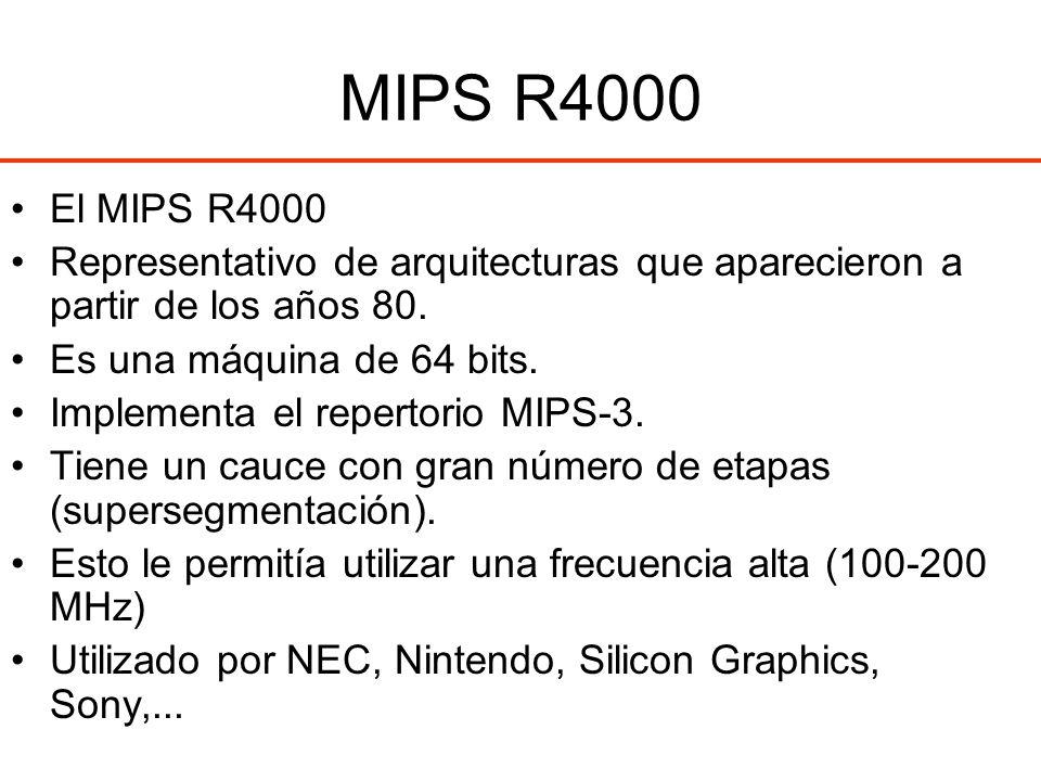 MIPS R4000 El MIPS R4000 Representativo de arquitecturas que aparecieron a partir de los años 80. Es una máquina de 64 bits. Implementa el repertorio