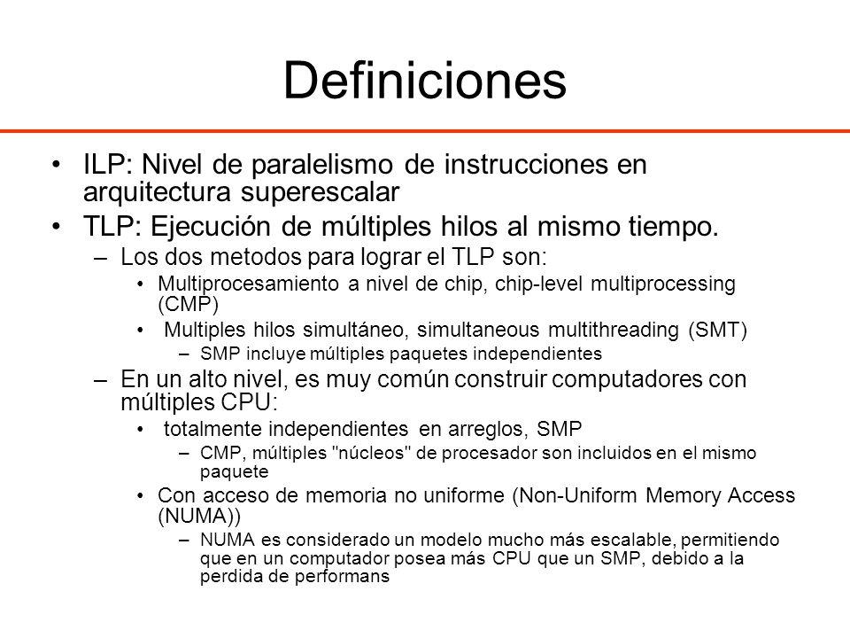 Definiciones ILP: Nivel de paralelismo de instrucciones en arquitectura superescalar TLP: Ejecución de múltiples hilos al mismo tiempo. –Los dos metod