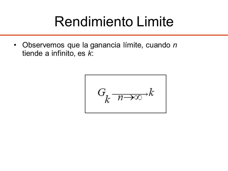 Rendimiento Limite Observemos que la ganancia límite, cuando n tiende a infinito, es k: