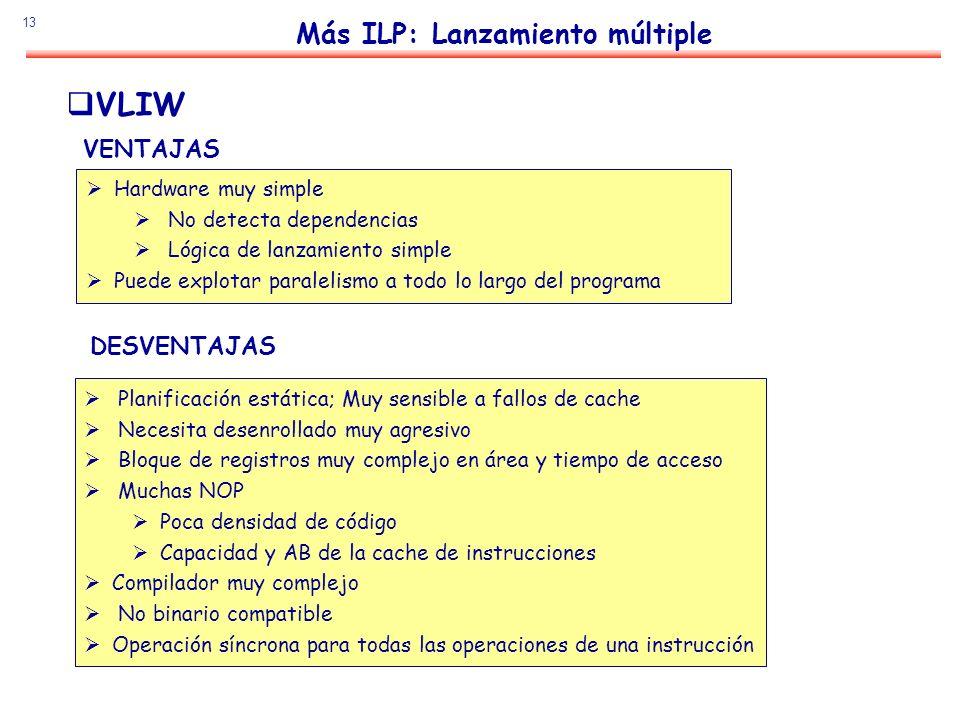 13 Más ILP: Lanzamiento múltiple VLIW VENTAJAS Hardware muy simple No detecta dependencias Lógica de lanzamiento simple Puede explotar paralelismo a t