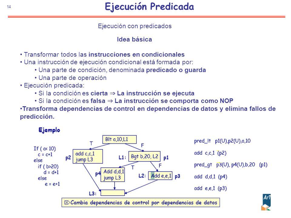 Ejecución Predicada 14 Ejecución con predicados Idea básica Transformar todos las instrucciones en condicionales Una instrucción de ejecución condicio