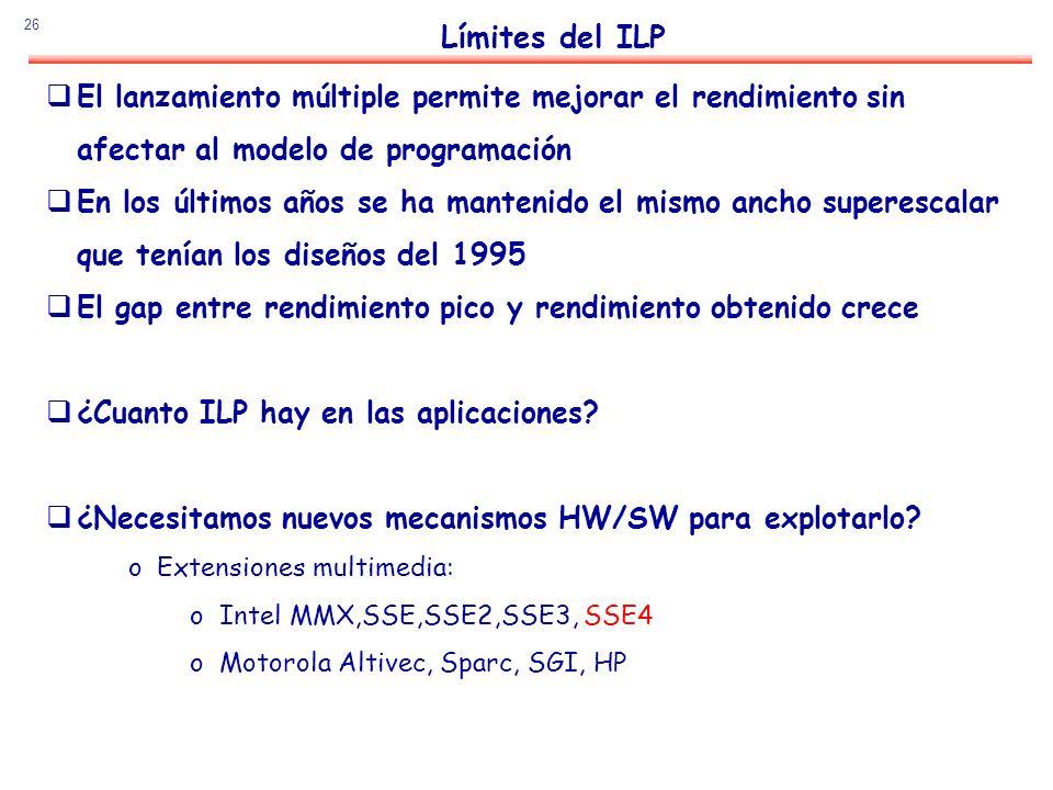 26 Límites del ILP El lanzamiento múltiple permite mejorar el rendimiento sin afectar al modelo de programación En los últimos años se ha mantenido el