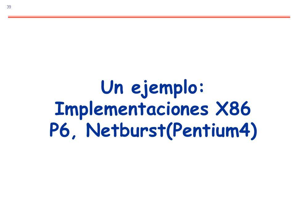 39 Un ejemplo: Implementaciones X86 P6, Netburst(Pentium4)