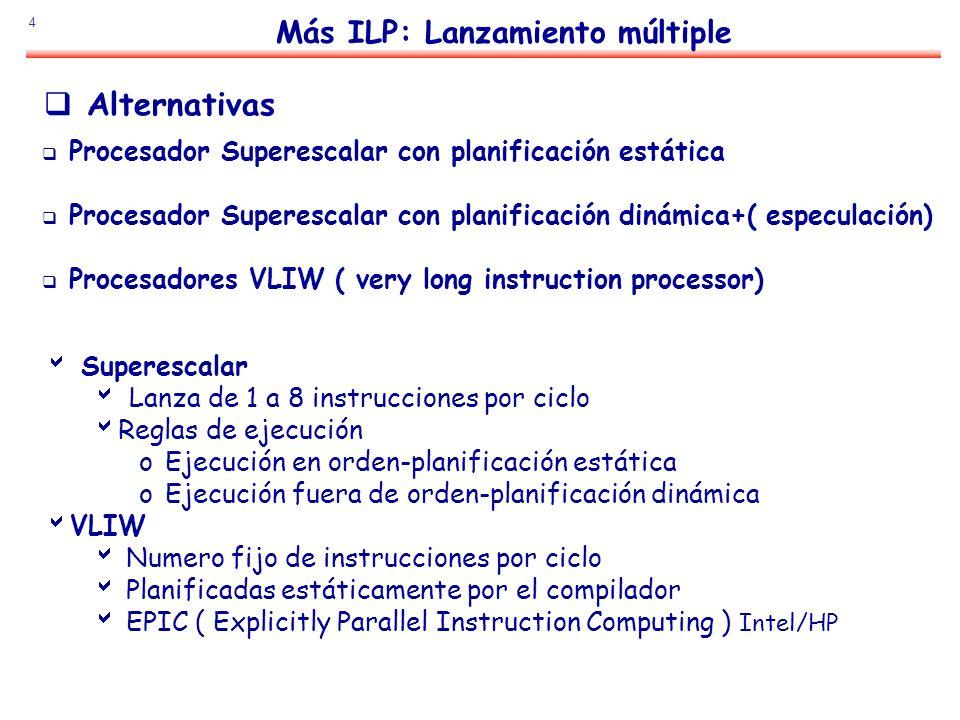 4 Más ILP: Lanzamiento múltiple Alternativas Procesador Superescalar con planificación estática Procesador Superescalar con planificación dinámica+( e