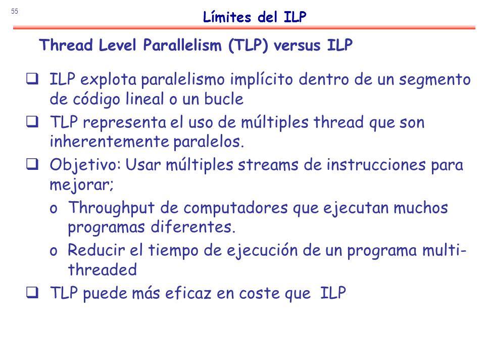55 Thread Level Parallelism (TLP) versus ILP ILP explota paralelismo implícito dentro de un segmento de código lineal o un bucle TLP representa el uso