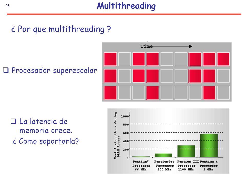 56 Multithreading Procesador superescalar La latencia de memoria crece. ¿ Como soportarla? ¿ Por que multithreading ?