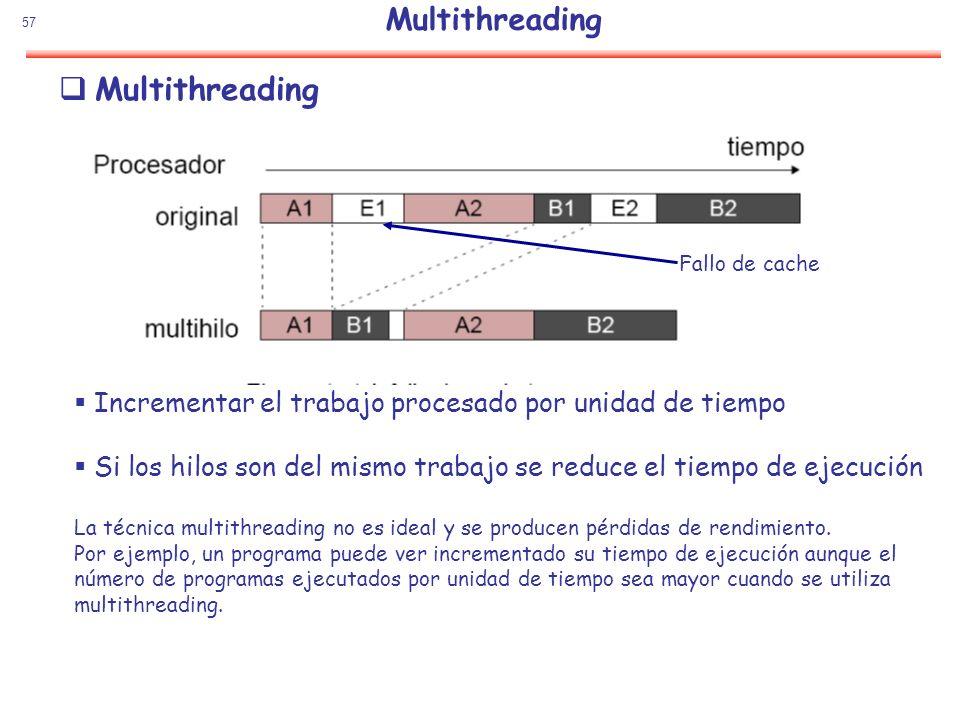 57 Multithreading Fallo de cache Incrementar el trabajo procesado por unidad de tiempo Si los hilos son del mismo trabajo se reduce el tiempo de ejecu