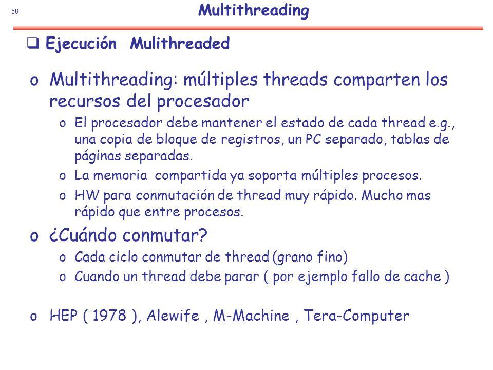 58 Ejecución Mulithreaded oMultithreading: múltiples threads comparten los recursos del procesador oEl procesador debe mantener el estado de cada thre