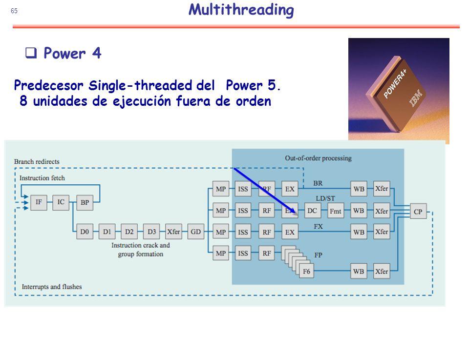 65 Power 4 Predecesor Single-threaded del Power 5. 8 unidades de ejecución fuera de orden Multithreading