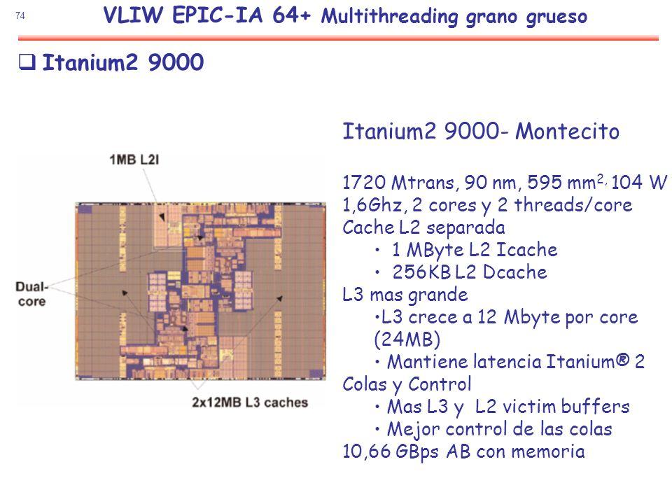 74 Itanium2 9000 Itanium2 9000- Montecito 1720 Mtrans, 90 nm, 595 mm 2, 104 W 1,6Ghz, 2 cores y 2 threads/core Cache L2 separada 1 MByte L2 Icache 256