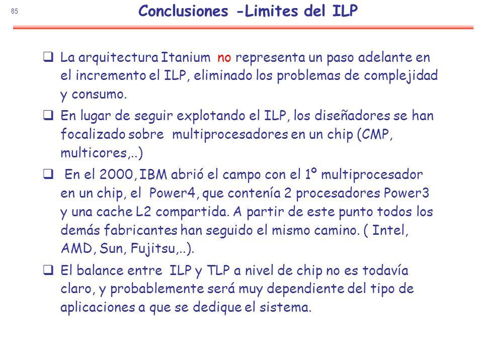 85 La arquitectura Itanium no representa un paso adelante en el incremento el ILP, eliminado los problemas de complejidad y consumo. En lugar de segui