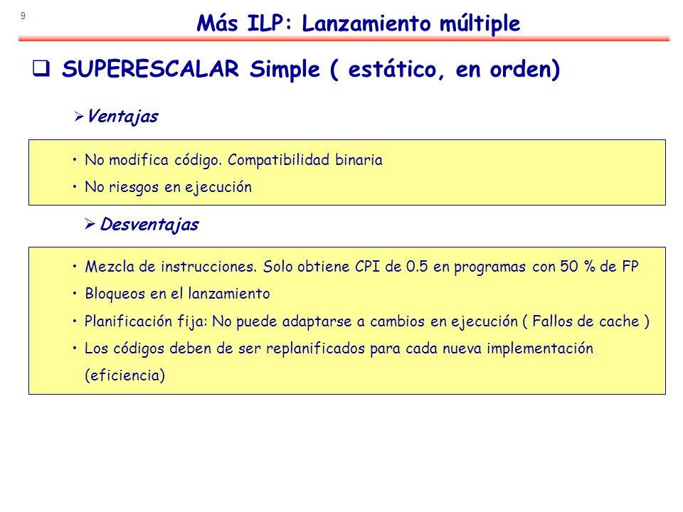 9 Más ILP: Lanzamiento múltiple SUPERESCALAR Simple ( estático, en orden) Ventajas No modifica código. Compatibilidad binaria No riesgos en ejecución