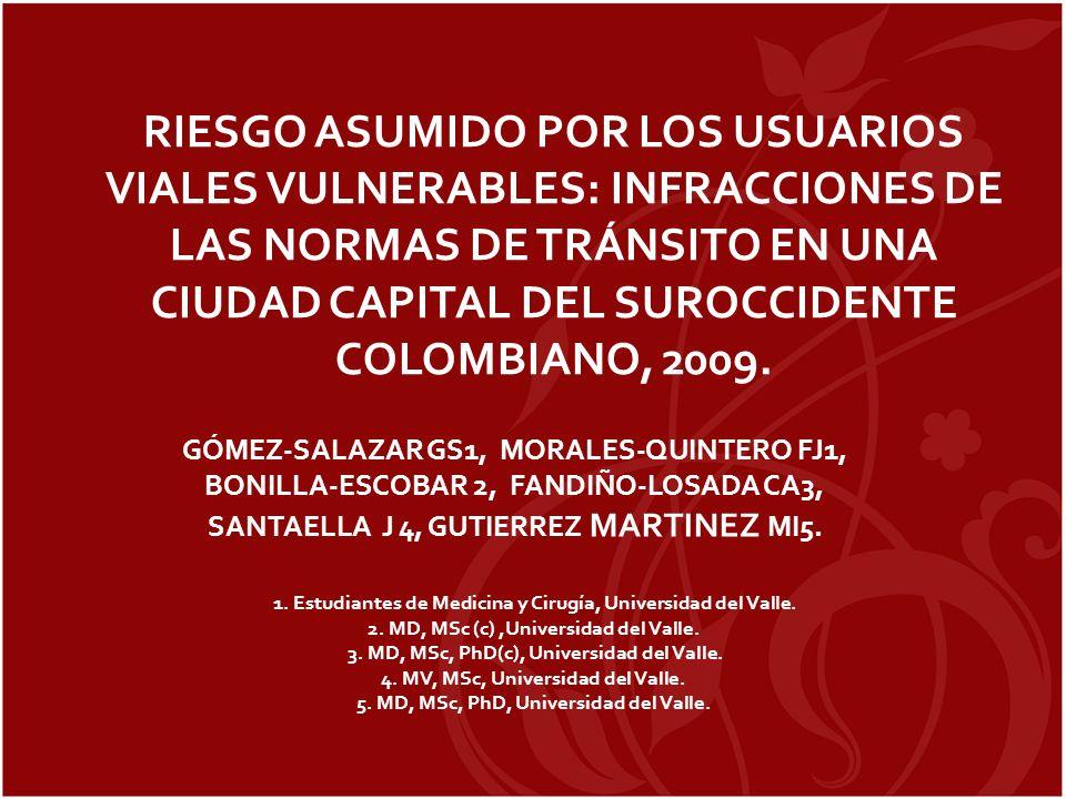 RIESGO ASUMIDO POR LOS USUARIOS VIALES VULNERABLES: INFRACCIONES DE LAS NORMAS DE TRÁNSITO EN UNA CIUDAD CAPITAL DEL SUROCCIDENTE COLOMBIANO, 2009. GÓ