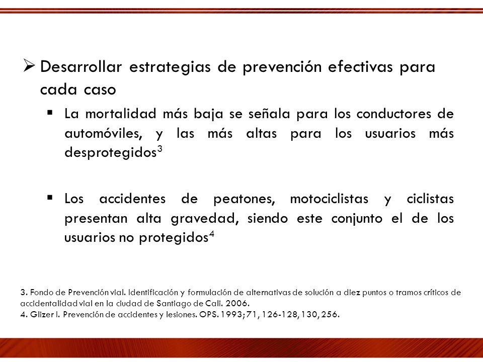 Desarrollar estrategias de prevención efectivas para cada caso La mortalidad más baja se señala para los conductores de automóviles, y las más altas p