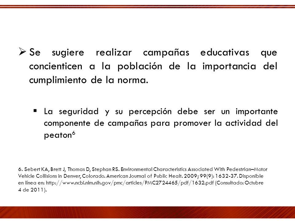 Se sugiere realizar campañas educativas que concienticen a la población de la importancia del cumplimiento de la norma. La seguridad y su percepción d