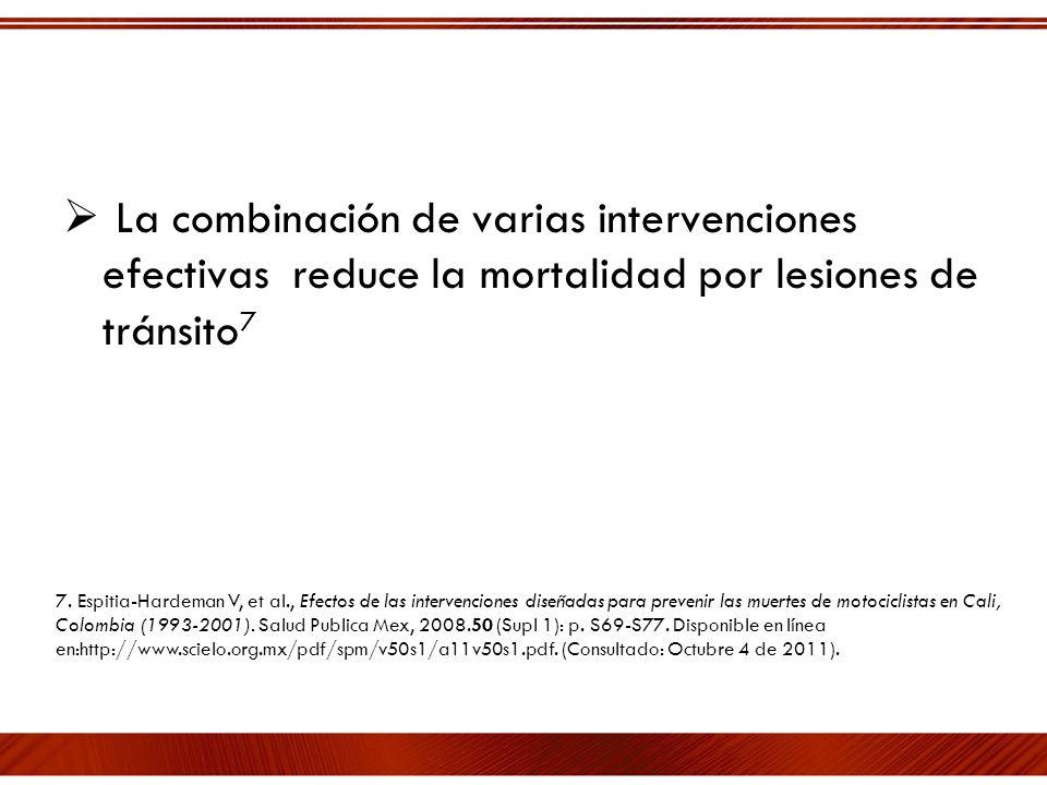 La combinación de varias intervenciones efectivas reduce la mortalidad por lesiones de tránsito 7 7. Espitia-Hardeman V, et al., Efectos de las interv