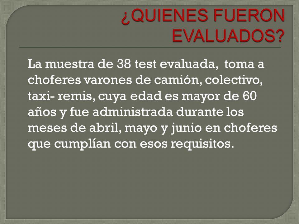 La muestra de 38 test evaluada, toma a choferes varones de camión, colectivo, taxi- remis, cuya edad es mayor de 60 años y fue administrada durante lo