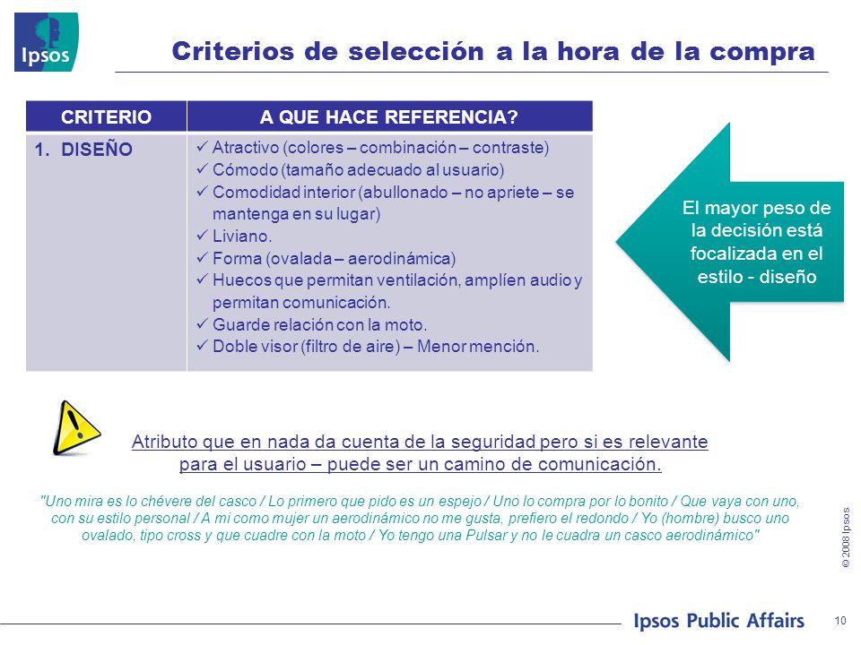 © 2008 Ipsos Criterios de selección a la hora de la compra CRITERIOA QUE HACE REFERENCIA? 1. DISEÑO Atractivo (colores – combinación – contraste) Cómo