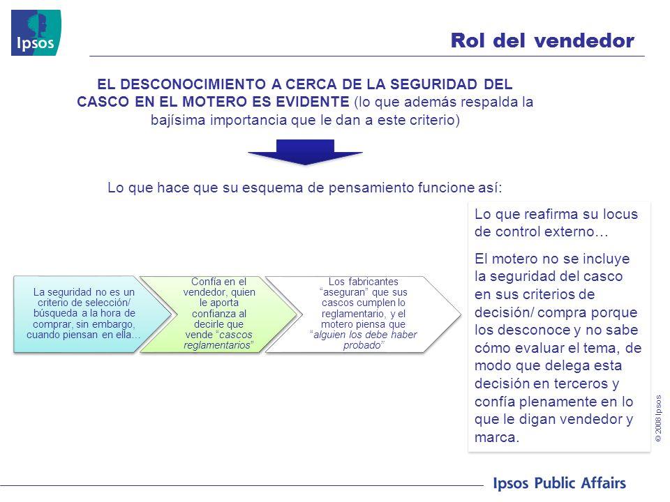 © 2008 Ipsos Rol del vendedor EL DESCONOCIMIENTO A CERCA DE LA SEGURIDAD DEL CASCO EN EL MOTERO ES EVIDENTE (lo que además respalda la bajísima import
