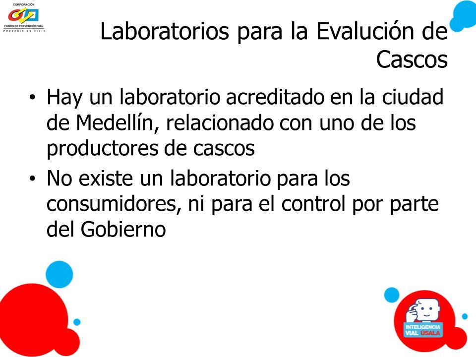 Laboratorios para la Evalución de Cascos Hay un laboratorio acreditado en la ciudad de Medellín, relacionado con uno de los productores de cascos No e