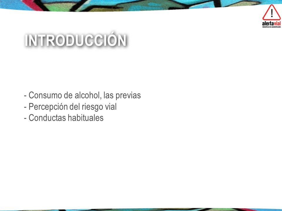 - Consumo de alcohol, las previas - Percepción del riesgo vial - Conductas habituales