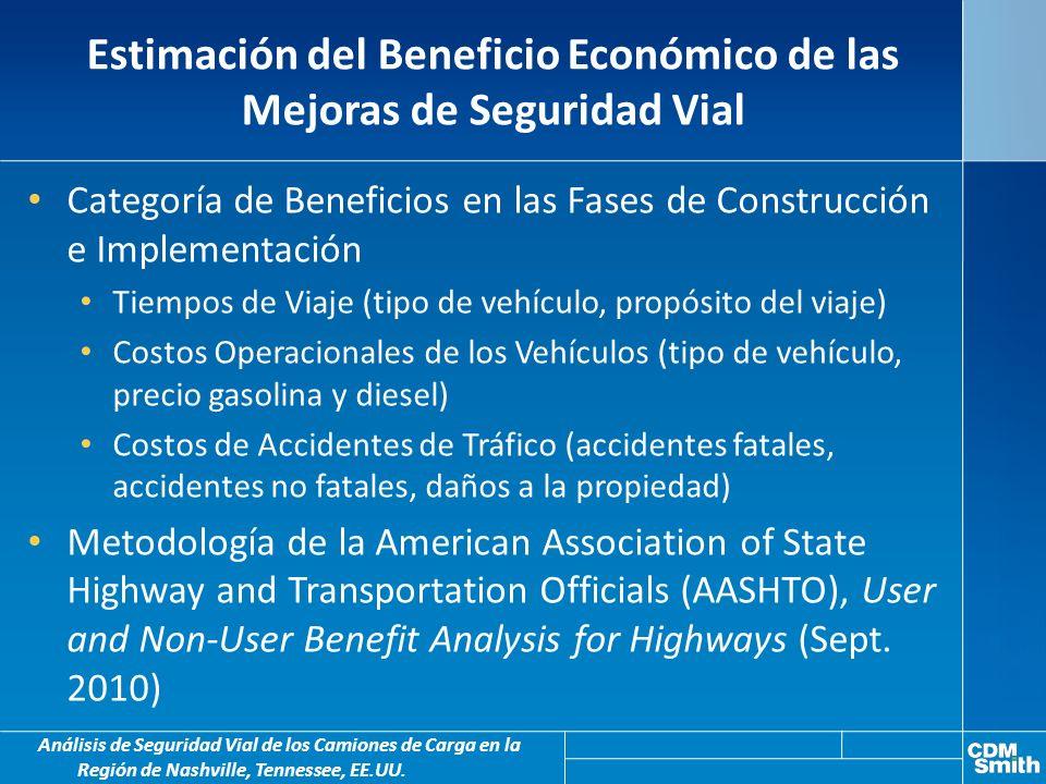 Estimación del Beneficio Económico de las Mejoras de Seguridad Vial Análisis de Seguridad Vial de los Camiones de Carga en la Región de Nashville, Tennessee, EE.UU.