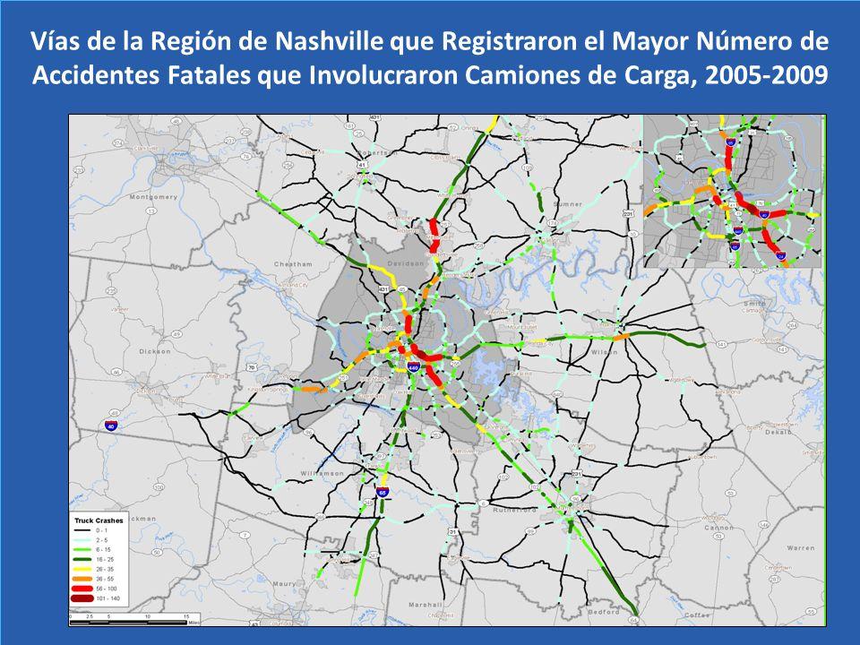 Vías de la Región de Nashville que Registraron el Mayor Número de Accidentes Fatales que Involucraron Camiones de Carga, 2005-2009