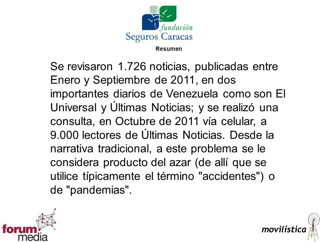Resumen Se revisaron 1.726 noticias, publicadas entre Enero y Septiembre de 2011, en dos importantes diarios de Venezuela como son El Universal y Últi