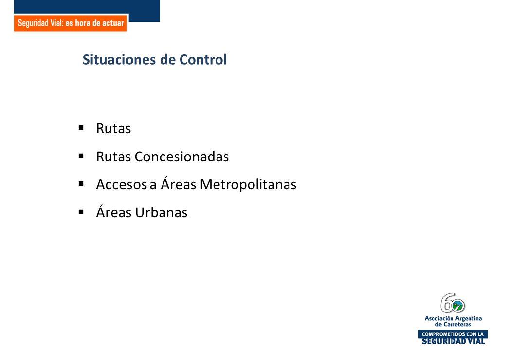 Situaciones de Control Rutas Rutas Concesionadas Accesos a Áreas Metropolitanas Áreas Urbanas