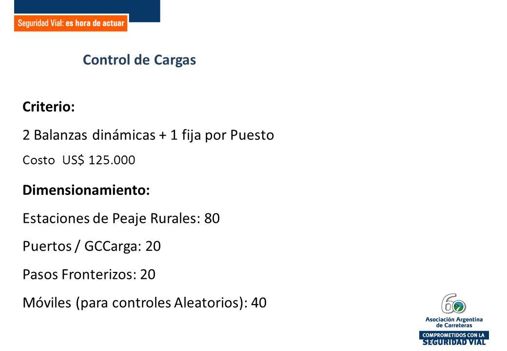 Control de Cargas Criterio: 2 Balanzas dinámicas + 1 fija por Puesto Costo US$ 125.000 Dimensionamiento: Estaciones de Peaje Rurales: 80 Puertos / GCCarga: 20 Pasos Fronterizos: 20 Móviles (para controles Aleatorios): 40